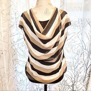 Michel Klein stripe silk front cowl neck black top